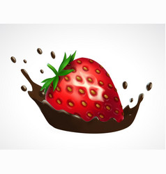 strawberry and chocolate splash vector image vector image