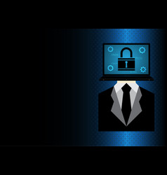 Technology digital cyber security lock laptop vector