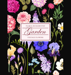 vintage card with garden flowers vector image vector image