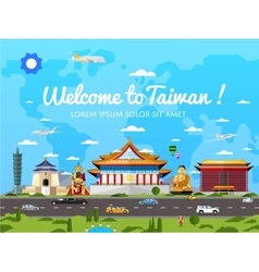 Welcome to Taiwan poster with famous attractions vector image vector image