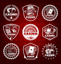 white vintage gambling labels set vector image vector image