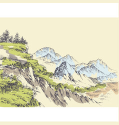 Wilderness drawing mountains design vector