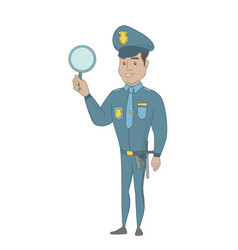 Young hispanic policeman holding a hand mirror vector