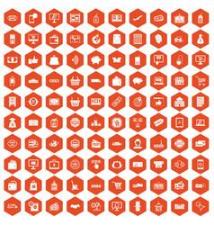 100 shopping icons hexagon orange vector