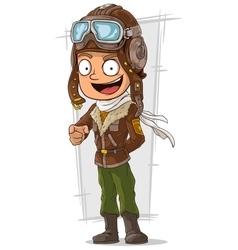 Cartoon happy pilot in leather helmet vector image