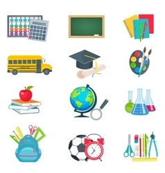 School education icons set vector