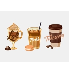 Iced coffee latte or mocha and freddo cup sleeve vector