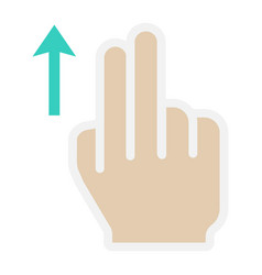 2 finger swipe up flat icon touch and gesture vector image
