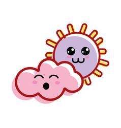 Kawaii sun and cloud with cheeks and eyes vector