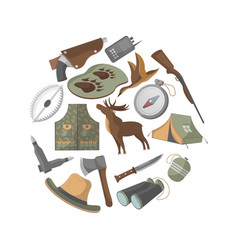 Hunting banner with hunter ammunition icons vector