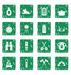 Recreation tourism icons set grunge vector