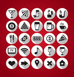 White on red icons set bar vector