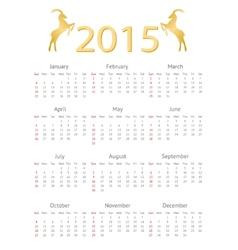 Calendar Template 2015 with Goat Icons vector image