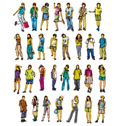 Set of 30 human pose vector
