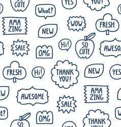 Outline phrases seamless pattern on white vector image