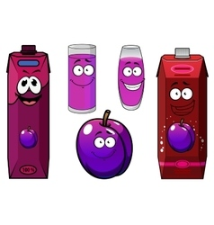 Plum juice and fruit cartoon characters vector
