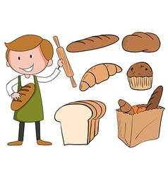 Flashcard of baker with bread vector