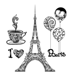Decorative eiffel tower vector