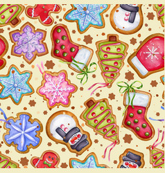 Gingerbread cookies background food vector