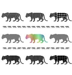 Female lion silhouette mosaic set vector