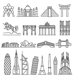 World landmarks outline icons abstract set vector