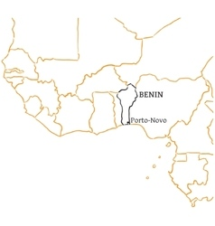 Benin hand-drawn sketch map vector