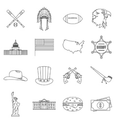 Usa icons set outline style vector