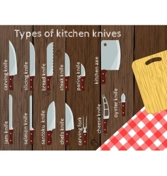Types of kitchen knives vector