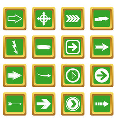arrow icons set green vector image