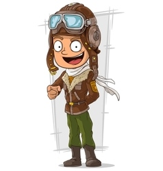 Cartoon happy pilot in leather helmet vector image