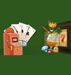 Casino gambling horizontal banner cartoon style vector