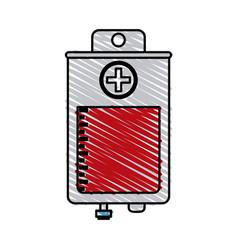 Color crayon stripe bag for blood donation vector