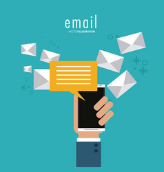 Envelope bubble hand smartphone email icon vector