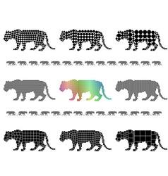 Female lion silhouette mosaic set vector image