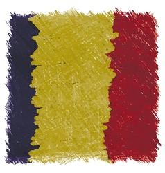 Flag of romania handmade square shape vector