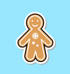 Ginger bread man icon cute christmas cookie vector