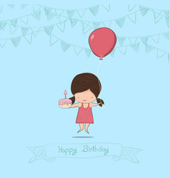 girl with birthday cupcake background drawing by vector image vector image
