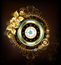 Gold clock with gold rose vector