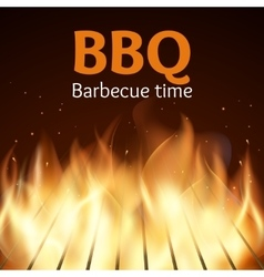 Grille with fire bbq poster vector