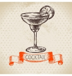 Hand drawn sketch cocktail vintage background vector