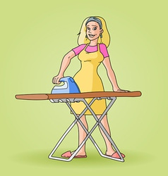 housewife ironing clip art vector image