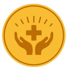 Medical prosperity gold coin vector