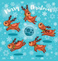 Merry christmas card with cute cartoon deers vector