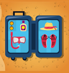 Open baggage with sun glasses mask suncreen hat vector
