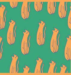orange cats on green background hand drawn vector image