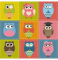 Patchwork background with owls vector image vector image