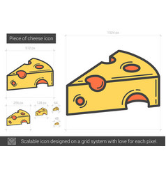 piece of cheese line icon vector image vector image