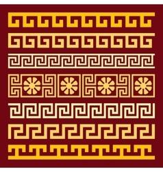 Set gold greek ornament meander vector