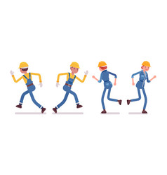 set of male and female worker running rear front vector image