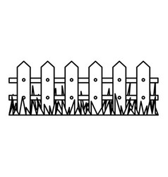 Silhouette wooden fence and grass icon vector